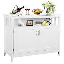 white storage cabinet for kitchen costway modern kitchen storage cabinet buffet server table sideboard dining wood white walmart
