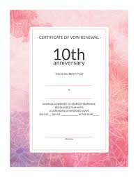 free printable watercolor 10th anniversary vow renewal certificate