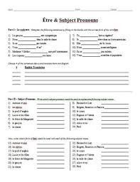 grammar worksheet être u0026 subject pronouns by bill westers tpt