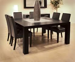 Small Black Leather Chair Square Black Glossy Dining Table And Black Leather Chairs With