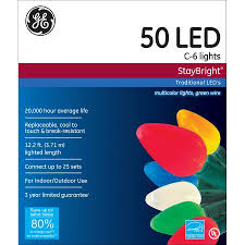 ge staybright multi colored c6 led light string set 50 count
