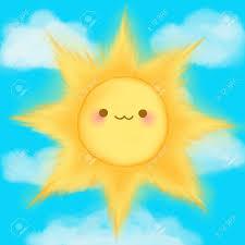 cute cartoon smiling sun clouds sky kawaii anime manga royalty