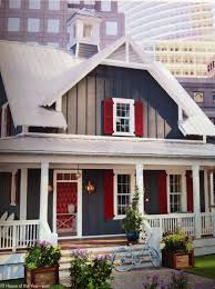 gray batten board siding white trim and red shutters home and