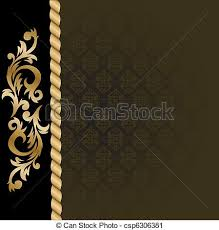 vector clip of black background with gold ornaments