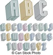 clip art vector of 3d font with good style simple shaped