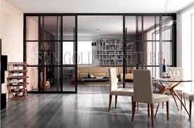china modern office living room glass sliding door partition wall