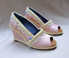 petal grosgrain toms items similar to custom wedding toms pink wedge size 8 5