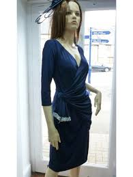 mascara wrap around style dress navy blue