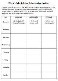 weekly schedule for behavioral activation worksheet therapist aid