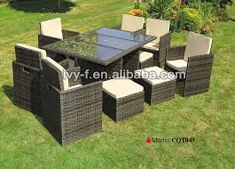 outdoor rattan cube set dining set rattan chair with hidden ottoman