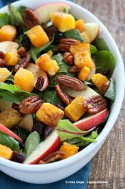 thanksgiving vegetarian recipes roasted butternut squash apple cranberry salad with harrissa