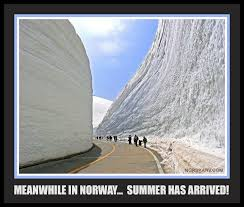 Norway Meme - meanwhle in norway meme summer has arrived road through snow