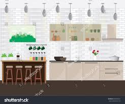 modern kitchen equipment illustration modern kitchen interior design kitchen stock vector