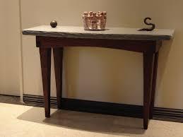custom foyer table stone and wood by stonehunterstudio
