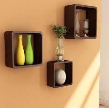 designer shelves decorative wall cubes shelves dark brown stained wooden shelf