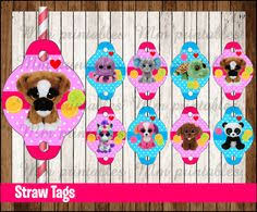 beanie boo cupcakes toppers instant download printnatyparty