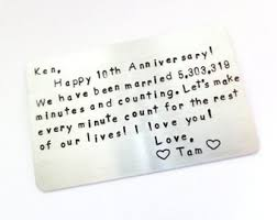 10 year anniversary card message aluminum wallet insert card 10 year anniversary your own