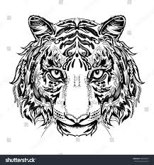 tiger black white silhouette ornament stock vector 488489965