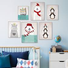 Aliexpresscom  Buy Triptych Modern Nordic Kawaii Animals Bear - Canvas paintings for kids rooms
