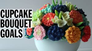 how to make an edible cupcake flower bouquet food network youtube