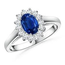 saphire rings princess diana inspired blue sapphire ring with diamond halo angara