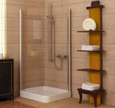 bathroom small bathroom with corner shower and brown wooden towel
