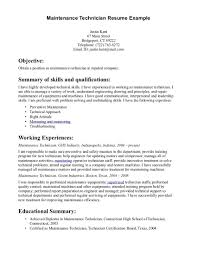 Technical Skills Examples Resume by Building Maintenance Resume 19 Example Resume For Maintenance