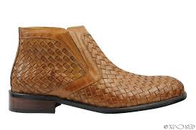 mens vintage real hand woven leather boots slip on ankle shoes