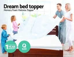 Queen Mattress Topper Memory Foam Mattress Topper Queen Size 7cm Visco Elastic Underlay