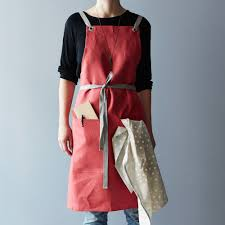 crimson cross back kitchen apron with graphite gray ties on food52