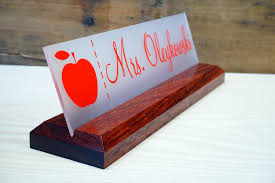 custom office desk signs acrylic teacher desk name plate with wood plaque personalized