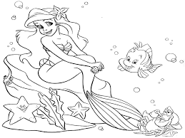 ariel the little mermaid coloring page free download