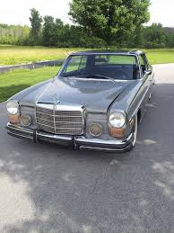 lowered mercedes w114 mercedes benz 250c coupe two tone paint job slightly