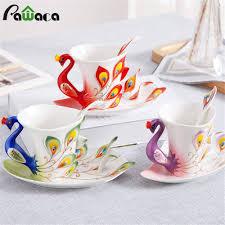 peacock coffee cup set ceramic creative mug bone china 3d color