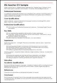 Resume In Spanish Example by Esl Teacher Cv Sample Myperfectcv