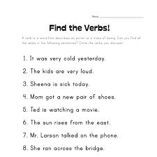 worksheet for grade 1 on verbs arab unity grade c english