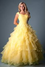 yellow organza ball gown modest prom dresses cap sleeves long