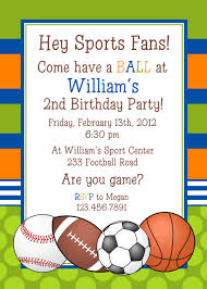 free printable sports themed birthday invitation card design for
