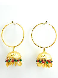 jhumka earrings jhumka earrings with multicolored and gold leaves