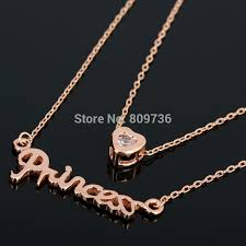 crystal chain necklace images 2 layers gold color princess heart crystal chain necklace women jpg