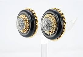 on earrings cleef and aprels diamond onyx gold clip on earrings