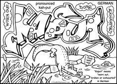 bored graffiti piece free printable coloring sheet free