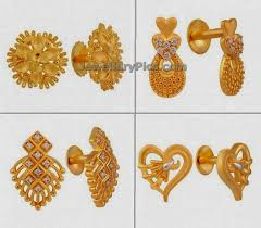 design of gold earrings ear tops trendy daily wear earrings in light weight for office jewellery