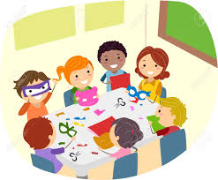 illustration of kids making paper crafts stock photo picture and