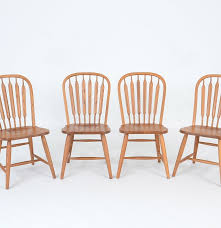 Oak Table With Windsor Back Chairs Four Richardson Brothers Signed Oak Chairs Ebth