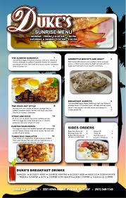 duke u0027s bar and grill breakfast menu riverside ca