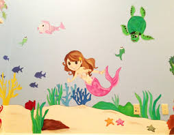 hand painted wall murals archives kids murals by dana mermaid and sea room wall mural girl room wall mural