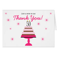 50th birthday thank you cards greeting u0026 photo cards zazzle