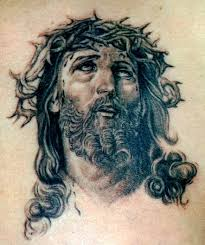 black ink jesus christ face tattoo design