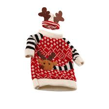wholesale christmas decoration supplies red wine bottle cover wool